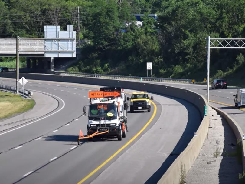 Ohio Turnpike striping road striping asphalt