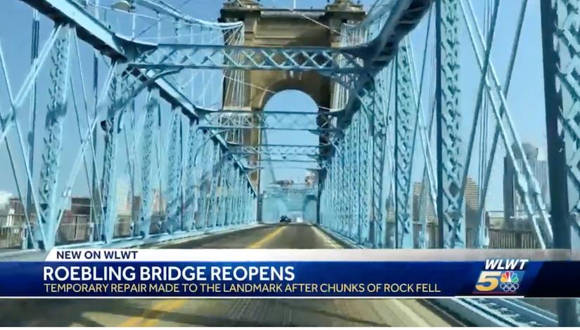 Cincinnati's Roebling Bridge reopens to traffic after pieces