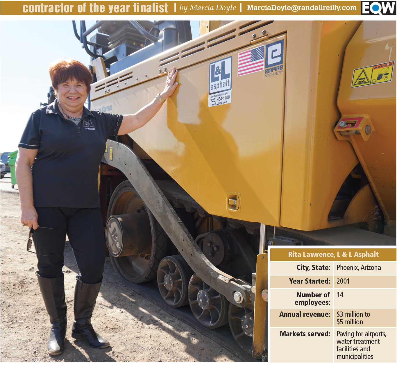 Facing an empty bank account Rita Lawrence started a paving business to