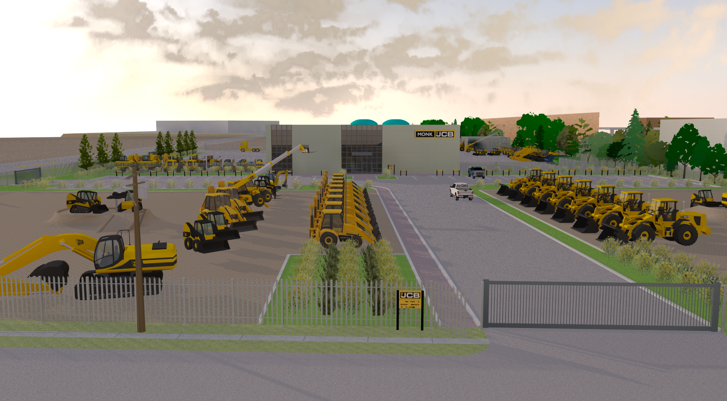 rendered image of Monk JCB facility