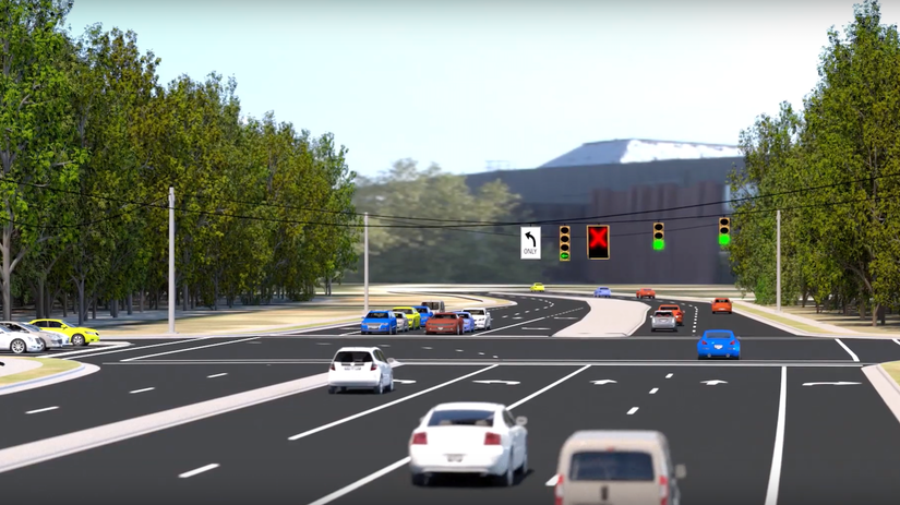 dynamic left-lane intersection graphic for NCDOT