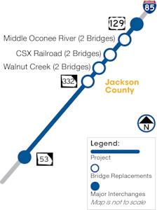 I-85 widening Phase 2 map in Jackson County Georgia