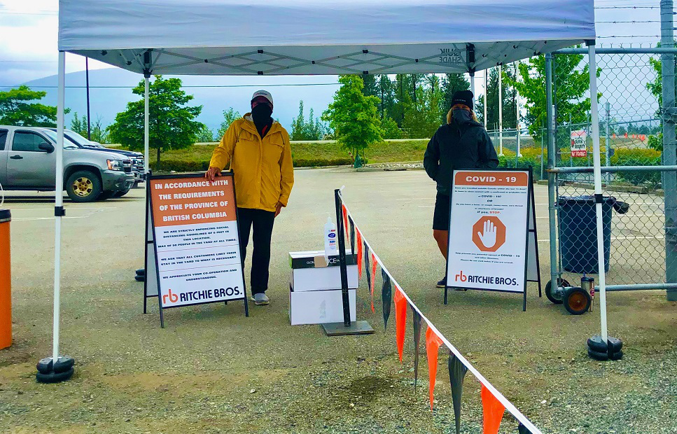 Ritchie Bros. coronavirus restrictions and checkpoint at British Columbia site