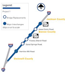 Georgia DOT Phase 1 I-85 widening map for barrow and gwinnett county georgia
