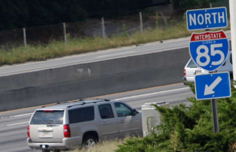 georgia I-85 north sign next to highway