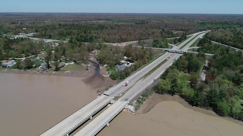 Flooding damages I-10 bridges Michigan