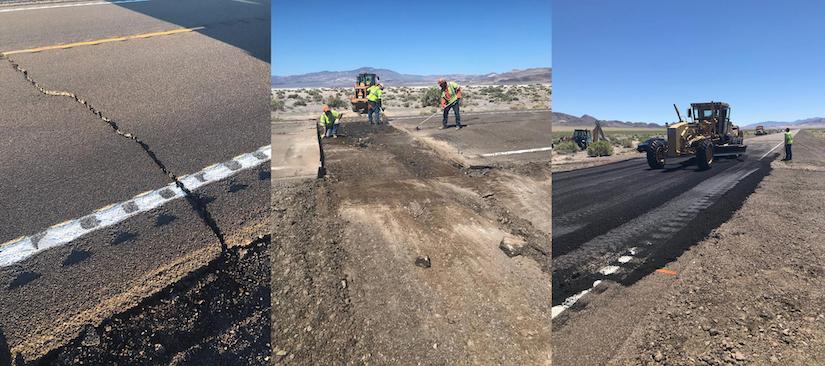 Nevada earthquake damage to U.S. Highway 95 and maintenance crews repairing the road