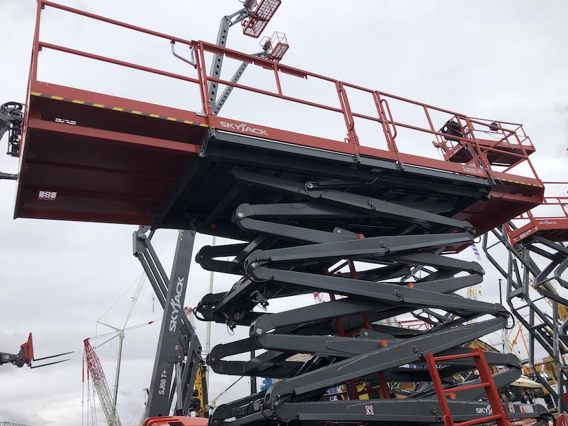 Skyjack SJ9263 RT rough terrain scissor lift with dual deck extensions