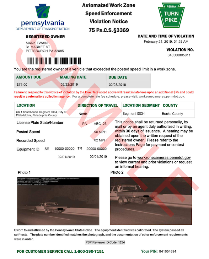 Pennsylvania speed camera automated work zone speed enforcement ticket sample
