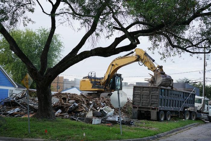 front end loader emptying hurricane debris