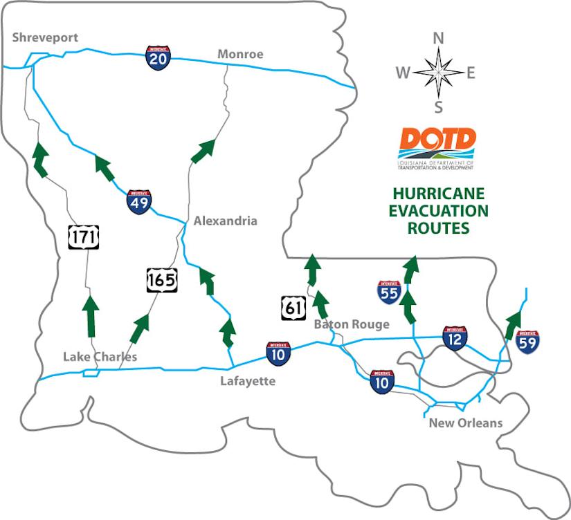Louisiana evacuation routes
