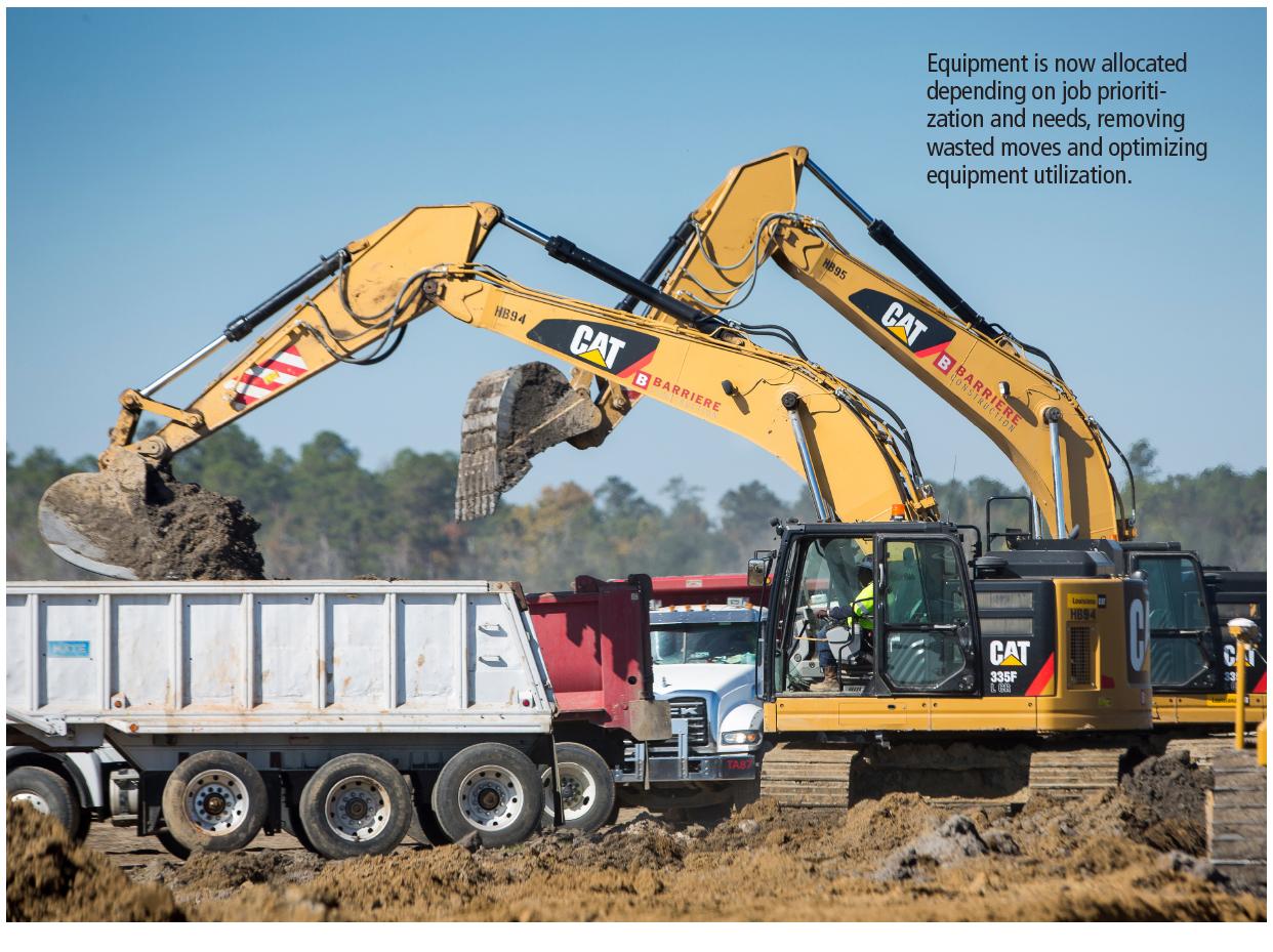 Two CAT excavators unloading buckets of dirt into dump trucks