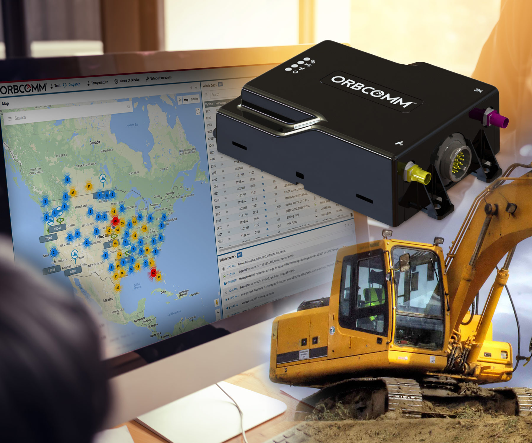 Orbcomm telematics device and online platform