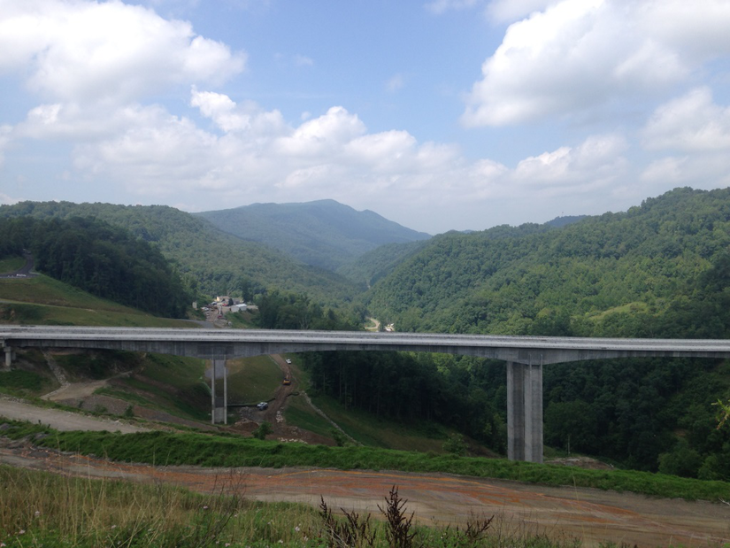 Tall bridge amongst grassy landscape in Virginia
