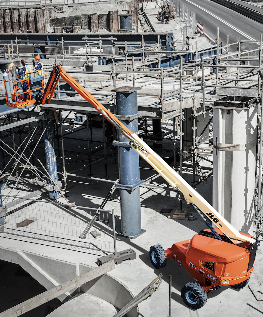 JLG HC3 460SJ hi-capacity telescopic boom lift on job site