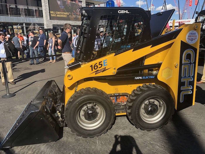 Gehl 165E electric skid steer at trade show
