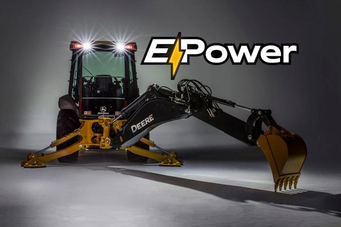 John Deer e-power electric backhoe