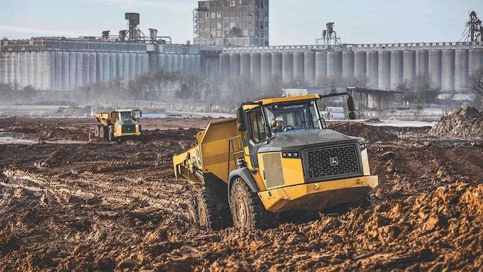 Deere E II articulated dump truck at job site
