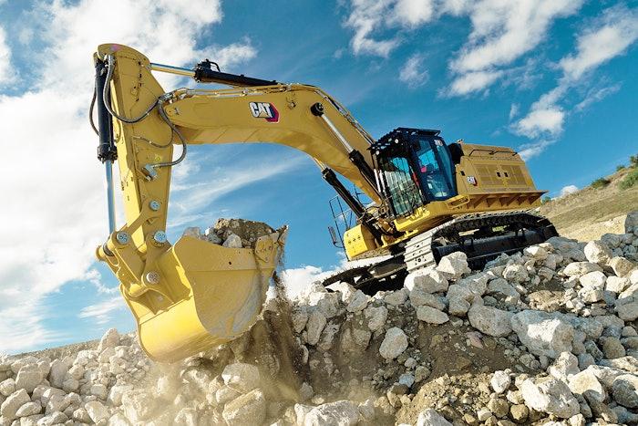 Cat 374 excavator at construction site