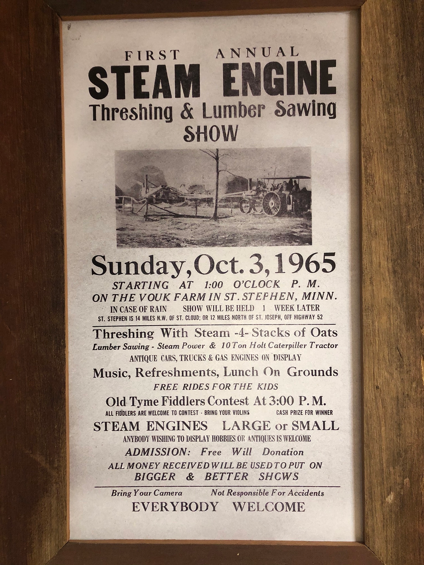 This poster in Scott Vouk's home was used to promote the family's first antique steam show in 1965, with a mention of the Holt Caterpillar 10-Ton.
