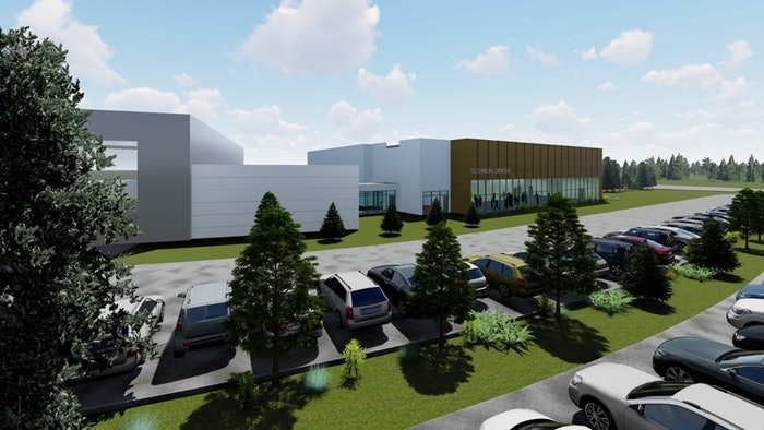 rendered image of volvo construction equipment's new training center