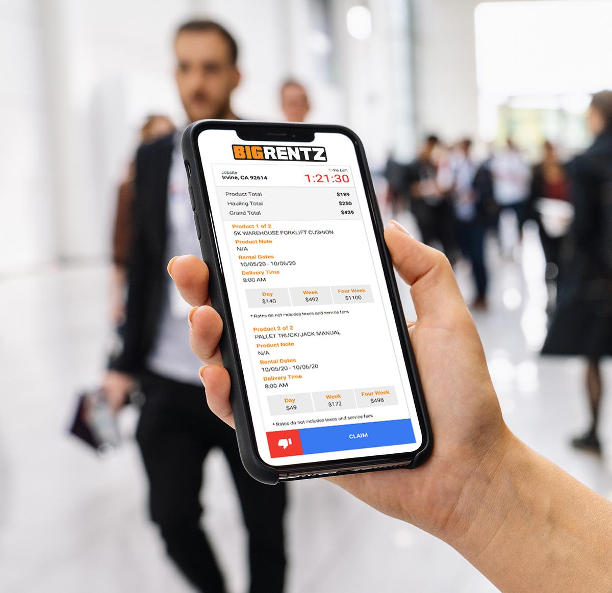 BigRentz Quickrentz app on phone
