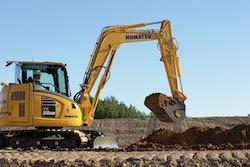Komatsu PC88MR-11 Small Hydraulic Excavator at construction jobsite