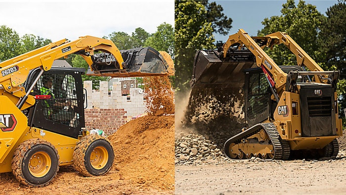 CAT skid steer and a CAT compact track loader dumping their buckets of dirt