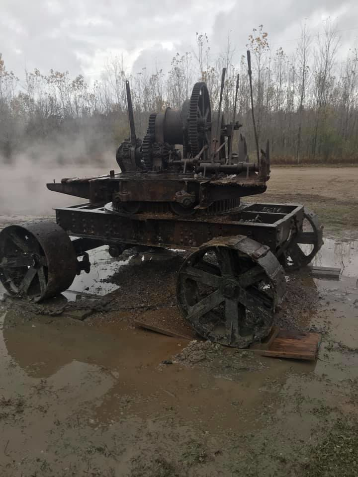 The old thew Type-O steam shovel gets a power-wash after sitting at the bottom of Wixom Lake for 95 years.