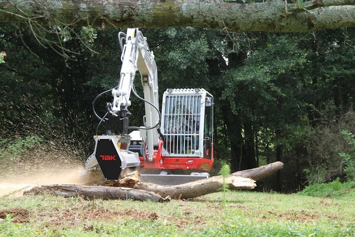 Takeuchi TB370 excavator with mulching head