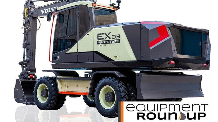Volvo EX03 concept with Equipment Roundup logo