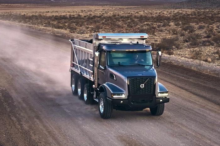 Volvo truck on dirt road
