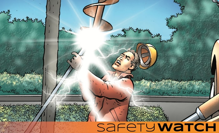 Drawing of a construction worker being electrocuted by a metal pole on a jobsite
