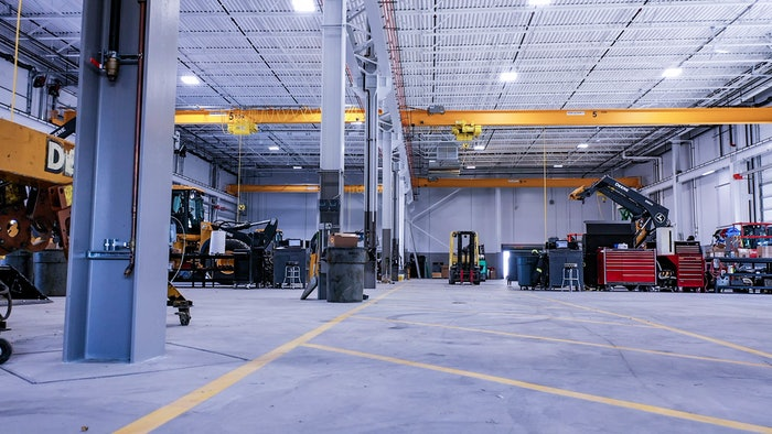 West Side Tractor Shop with overhead cranes