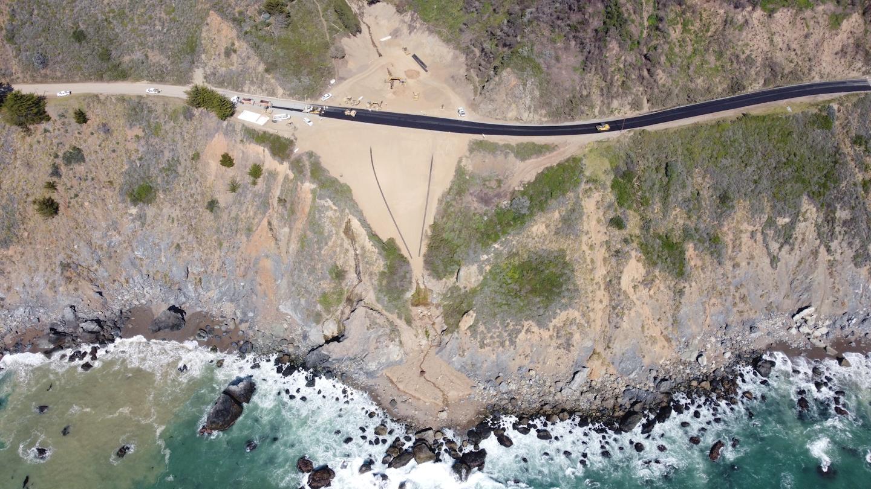 aerial view of road being rebuilt