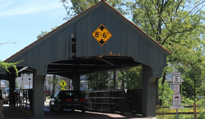 The Buffalo Creek Bridge, also known as the Robert Coffin Parker Bridge, has been struck 14 times since it reopened in August after being refurbished following a truck strike in 2018.