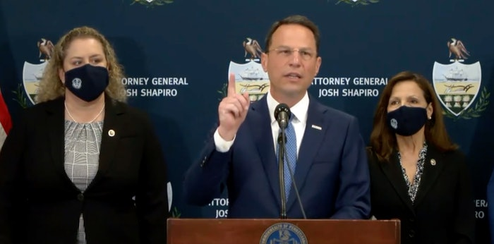 Pennsylvania Attorney General Josh Shapiro announces charges in 'the largest prevailing-wage case in U.S. history.'