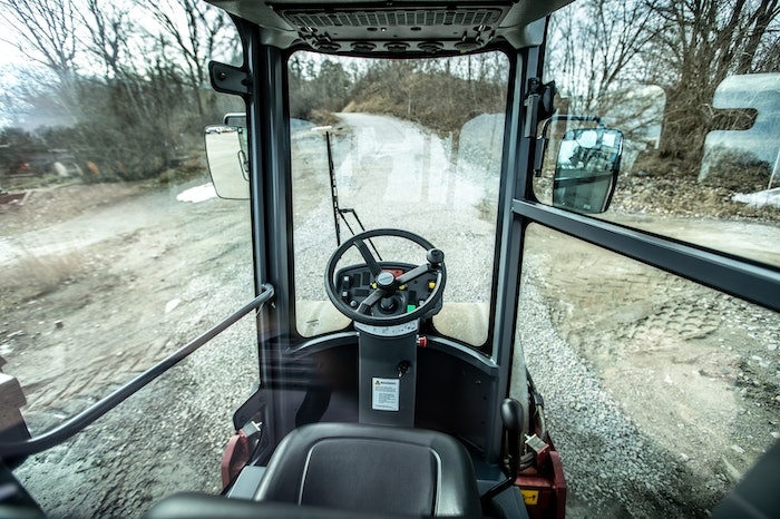 Inside cab of Dynapac soil compactor