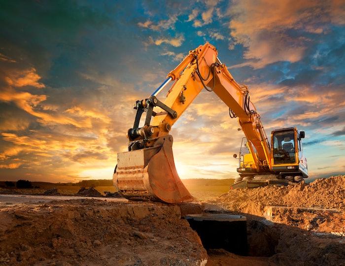 Excavator in dirt