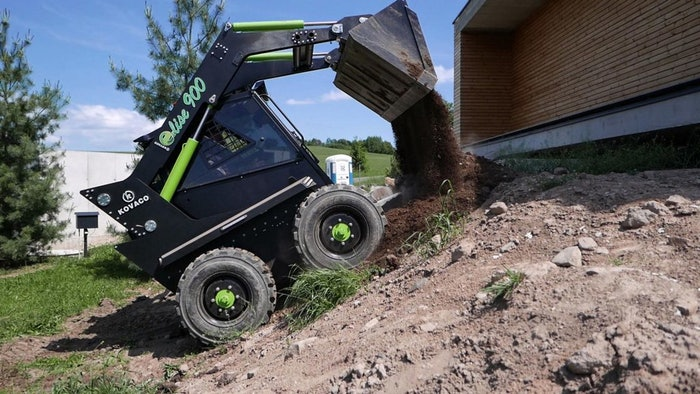 kovaco skid steer dumping dirt