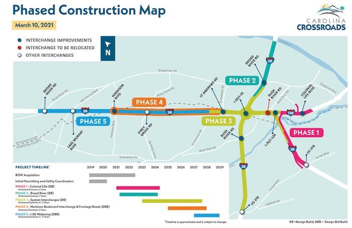 A map of Columbia, S.C.'s Carolina Crossroads project