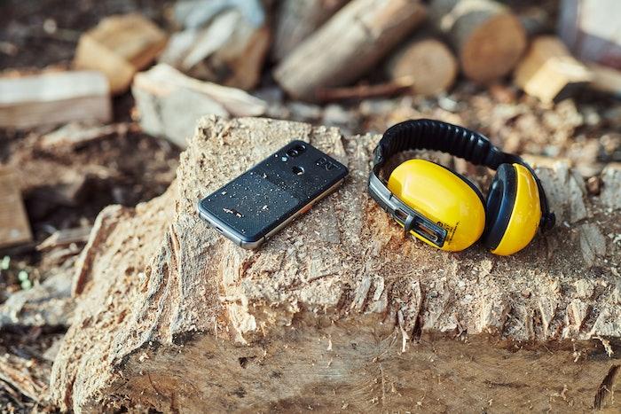 Cat S62 phone on rock