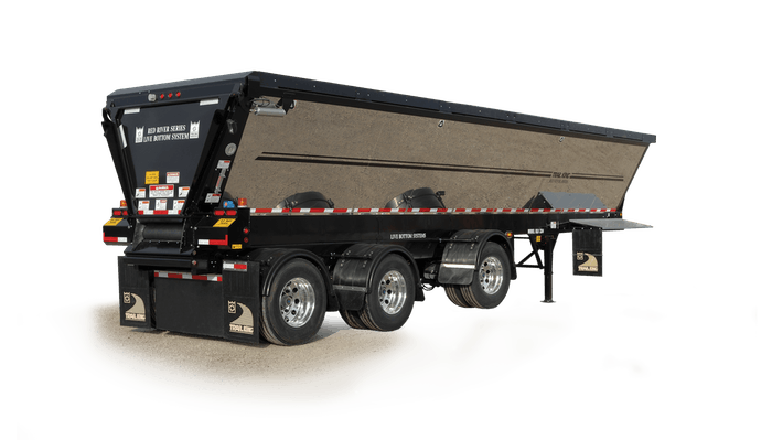 Trail King's new bottom trailer can empty a load in one revolution or less.