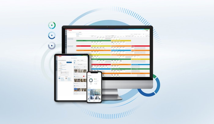 imac, ipad and iphone displaying bosch product graphic