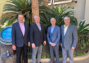 Left to right, Chris Nielsen, Allu project manager; Robert Cycon, Bejac vice president; Ron Barlet, Bejac president; and Edison Rocha, Allu vice president of distribution.