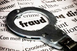 Handcuffs on top of fraud text