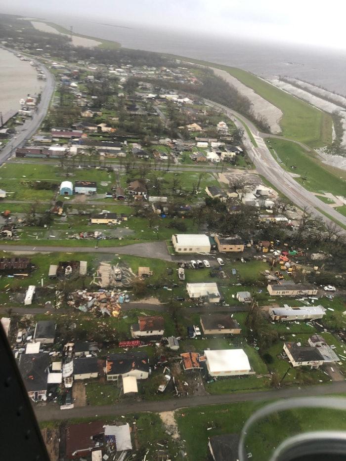 Hurricane Ida destruction aerial photo