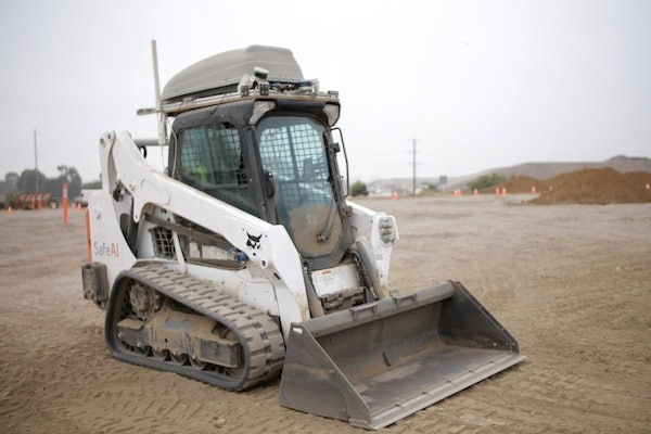 Skid steer outfitted with SafeAI technology