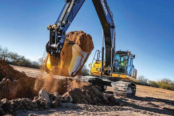 John Deere 350G LC SmartGrade Excavator scooping up a bucket of dirt