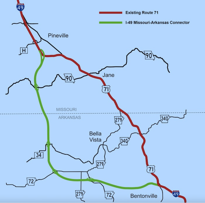 I-49 Missouri-Arkansas Connector route on a map